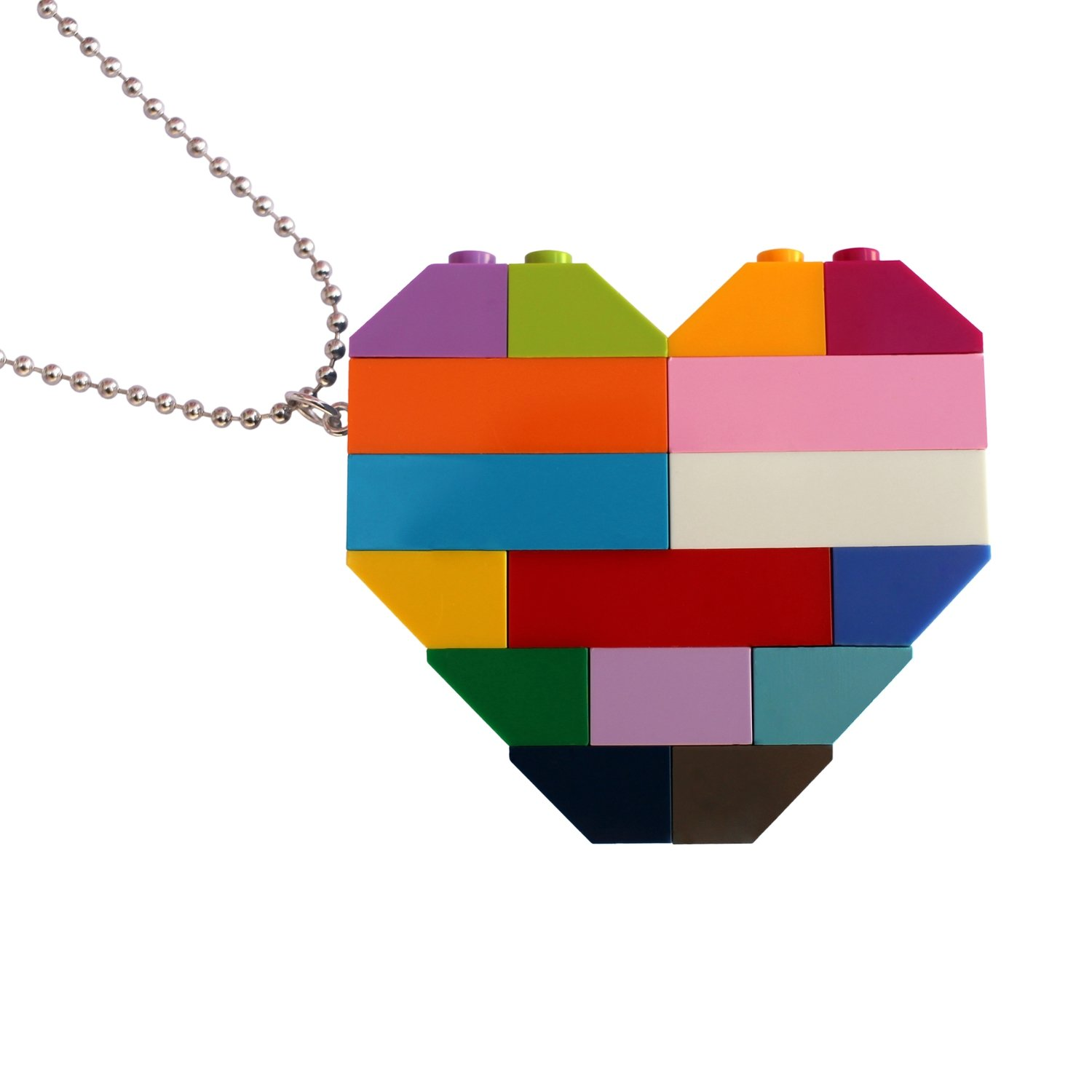 """Collectible heart pendant (Double thickness) Model 5 - made from LEGO® bricks on a 24"""" Silver plated ballchain - COLORFUL"""