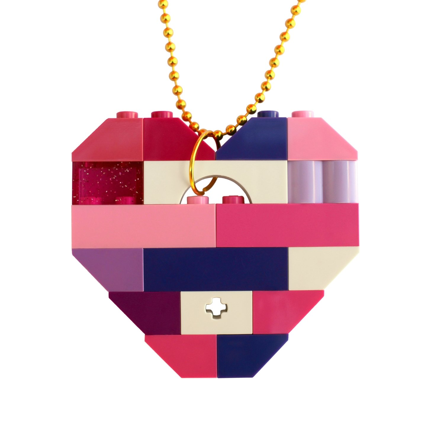 """Collectible heart pendant (Single thickness) Model 10 - made from LEGO® bricks on a 24"""" Gold plated ballchain - KAWAII PINK & PURPLE"""