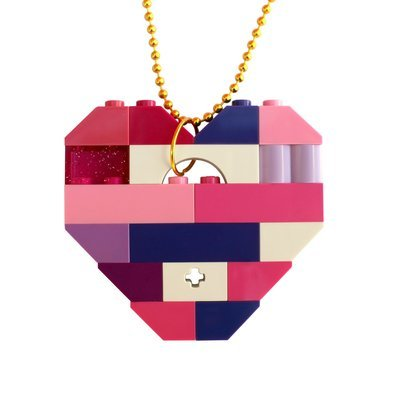 ​Collectible heart pendant (Single thickness) Model 10 - made from LEGO® bricks on a 24