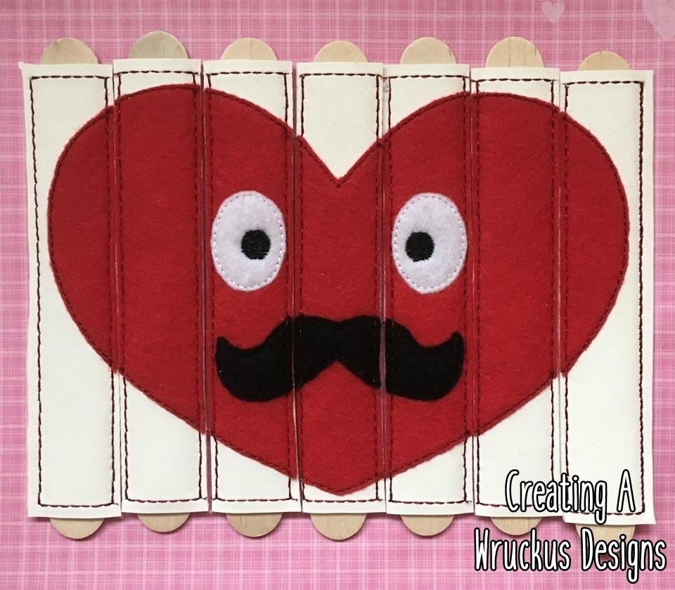Mustache Heart Stick Puzzle