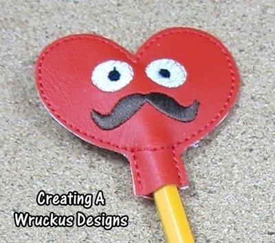 Mustache Heart Pencil Topper