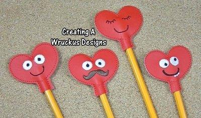 Heart Pencil Topper Set