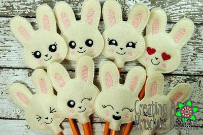 Bunny Emotion Pencil Toppers