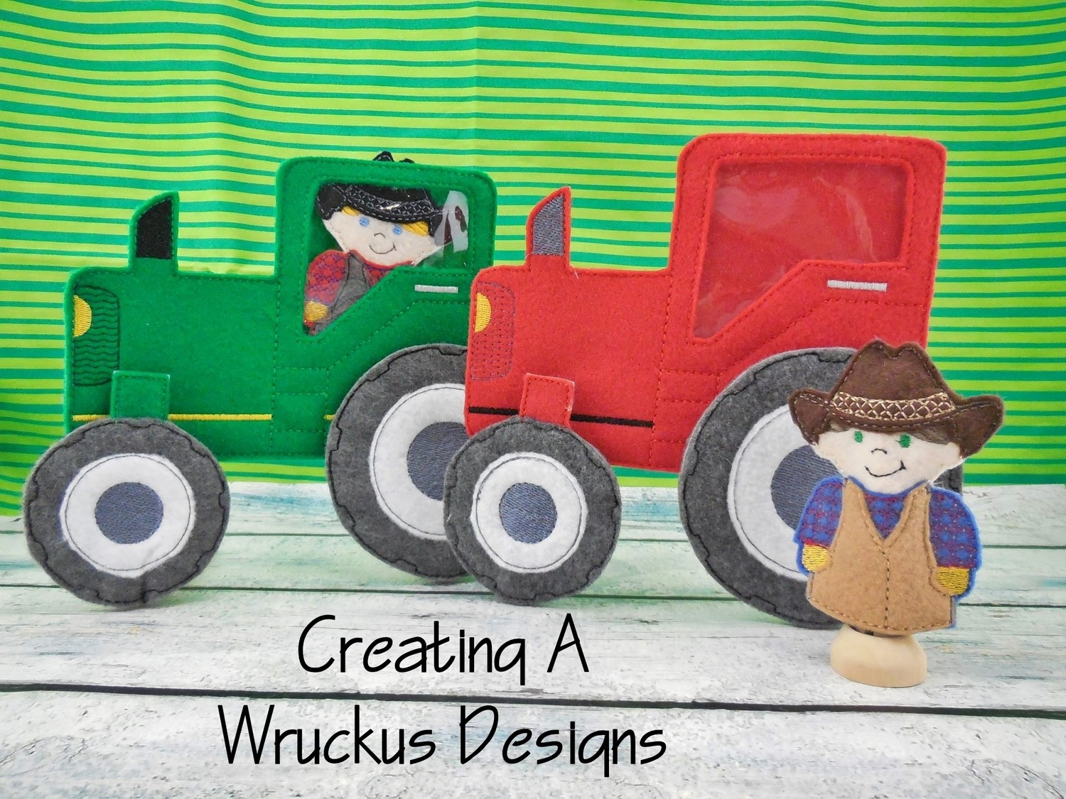 Tractor Clothespin with Farmer Finger Puppet