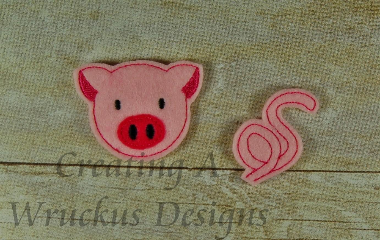 Pig Heads & Tails Feltie