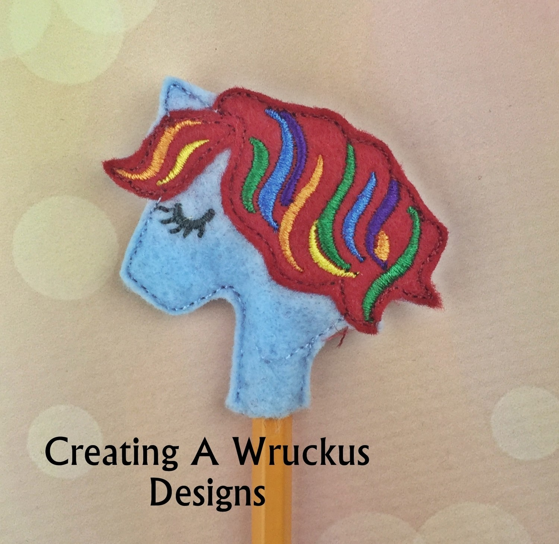 Pony Rainbow Colored Mane Pencil Topper