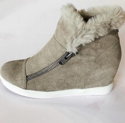 Taupe Fur Sneaker