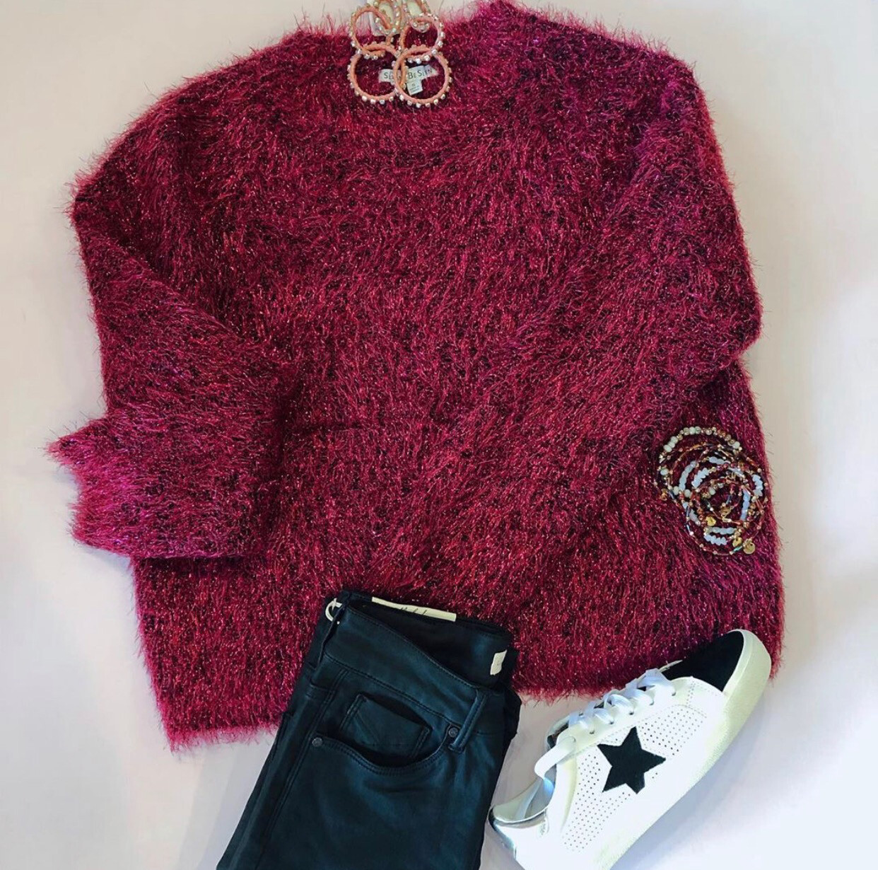 Magenta Shimmer Pull Over Sweater