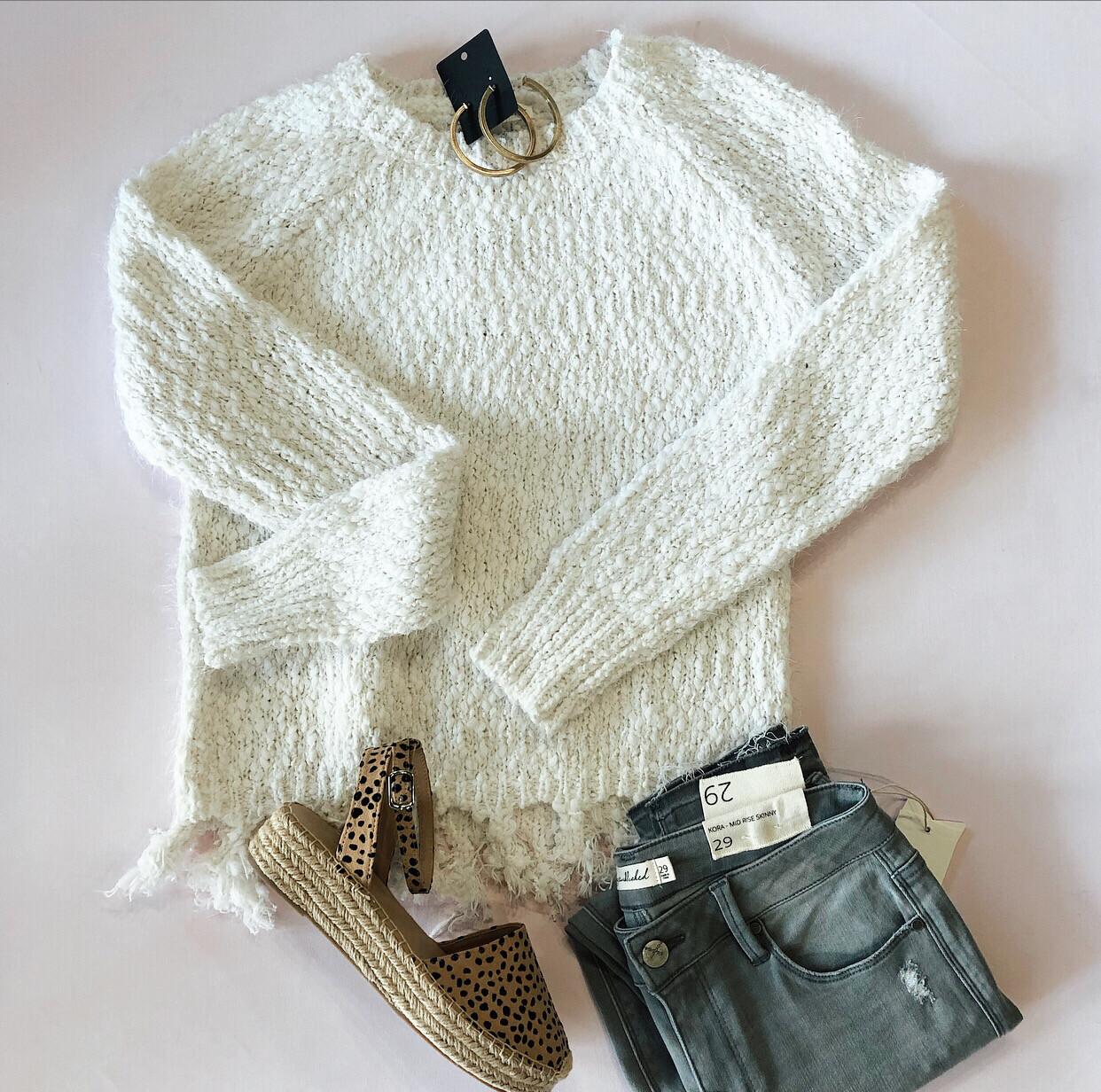 Cream Tassel Sweater