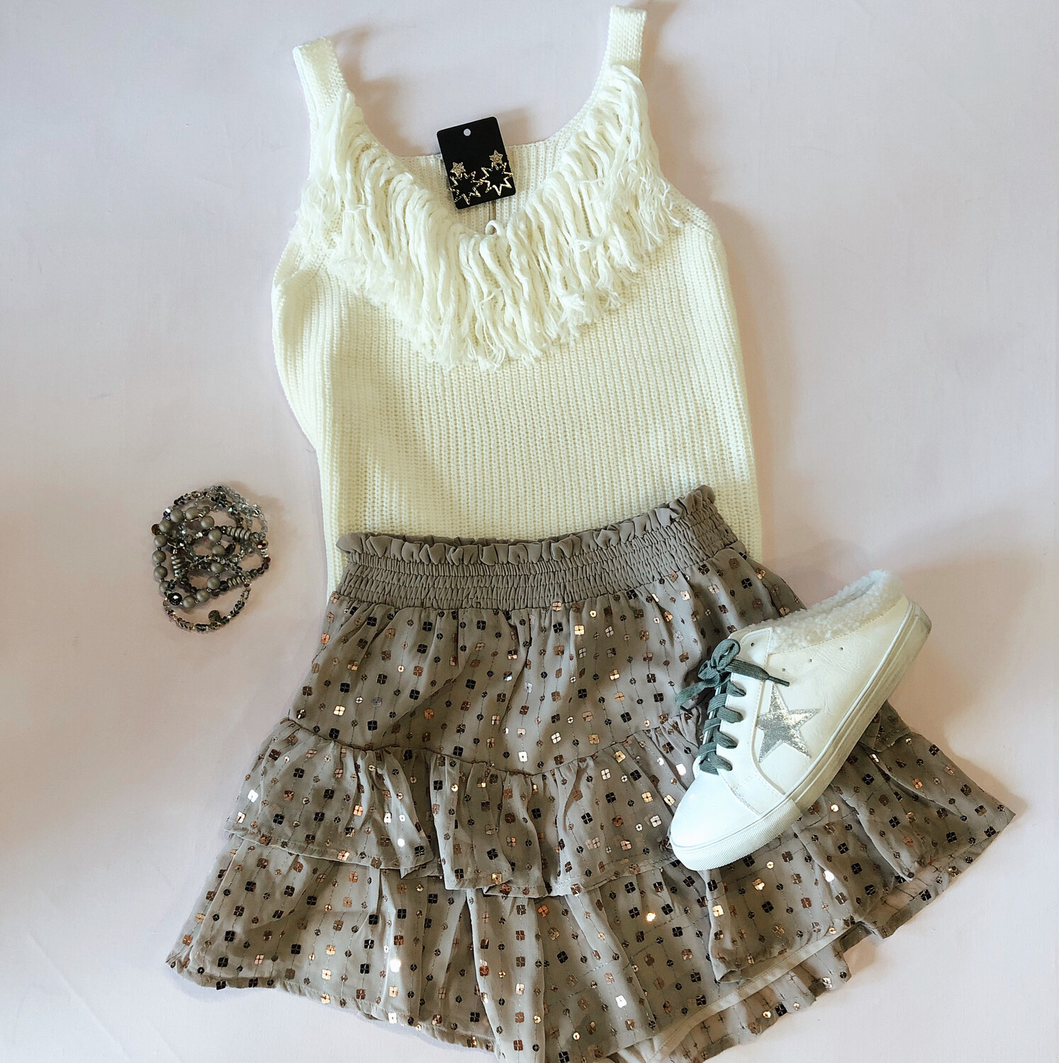 Taupe Sequin Short
