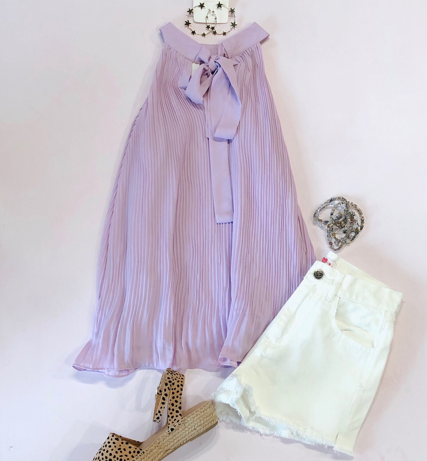 Lilac Pleated Tank
