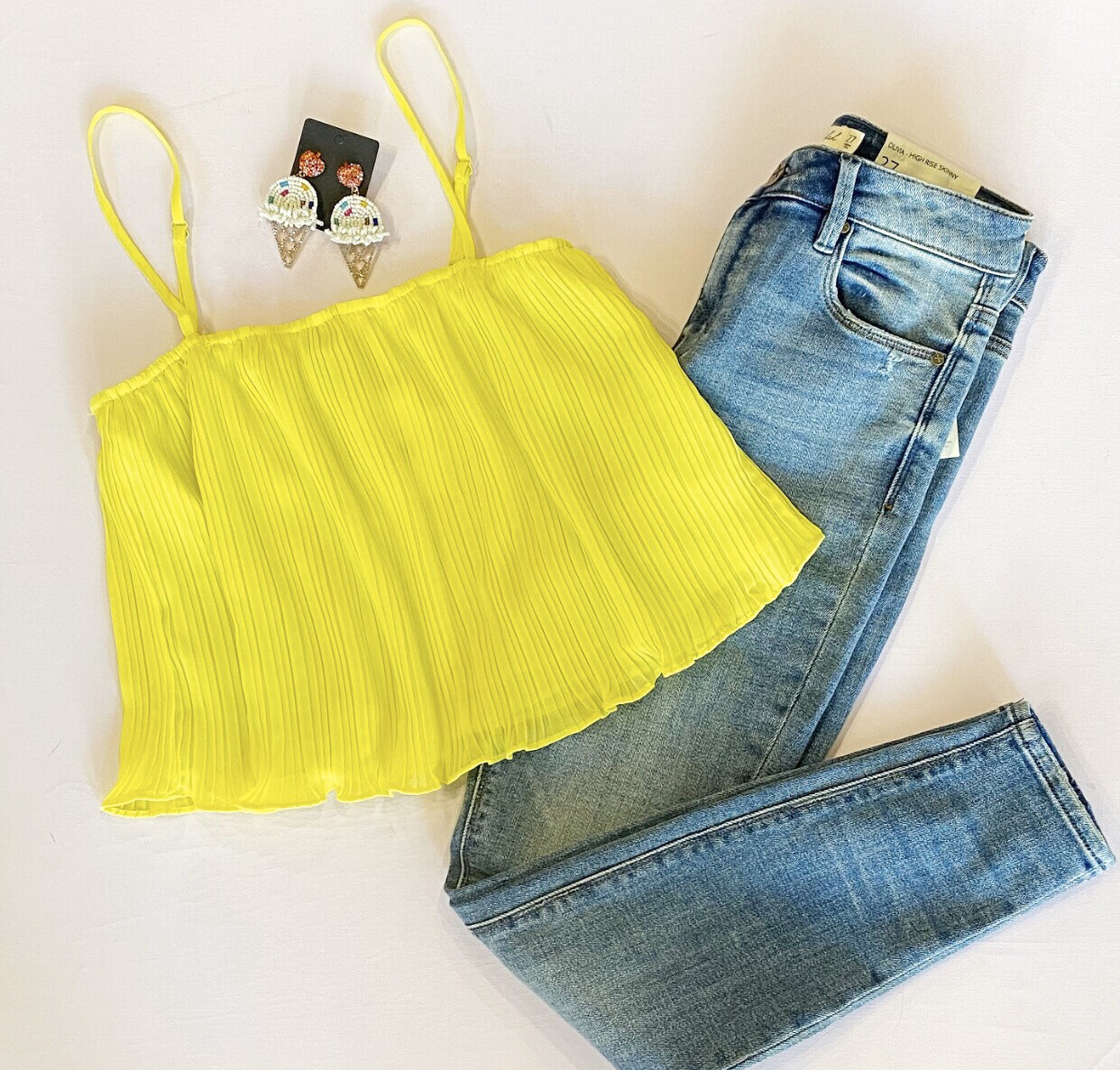 Neon Yellow Pleated Tank