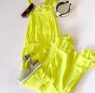 Neon Yellow Ruffle Maxi
