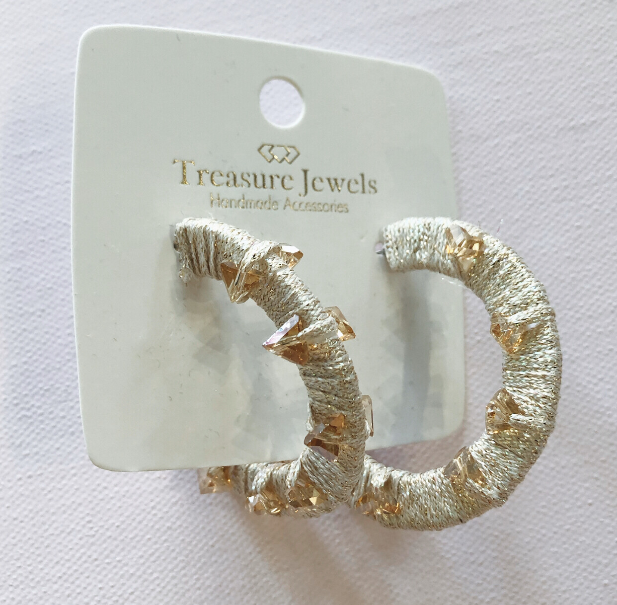 Champagne Crystal Hoops
