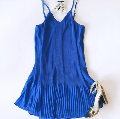 Cobalt Pleated Dress