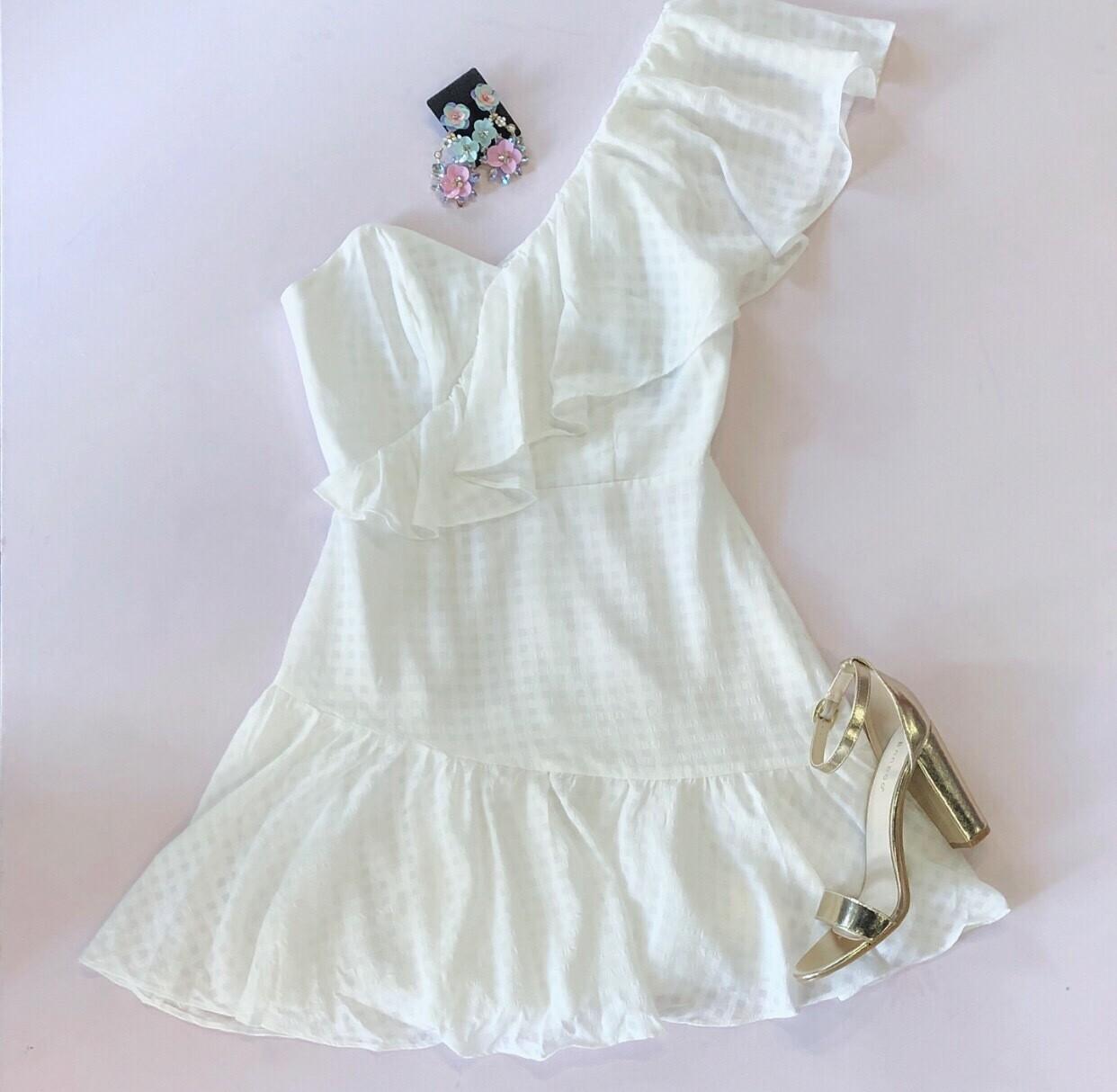 White One Shoulder Ruffle Dress