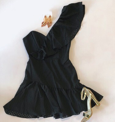 Black One Shoulder Ruffle Dress