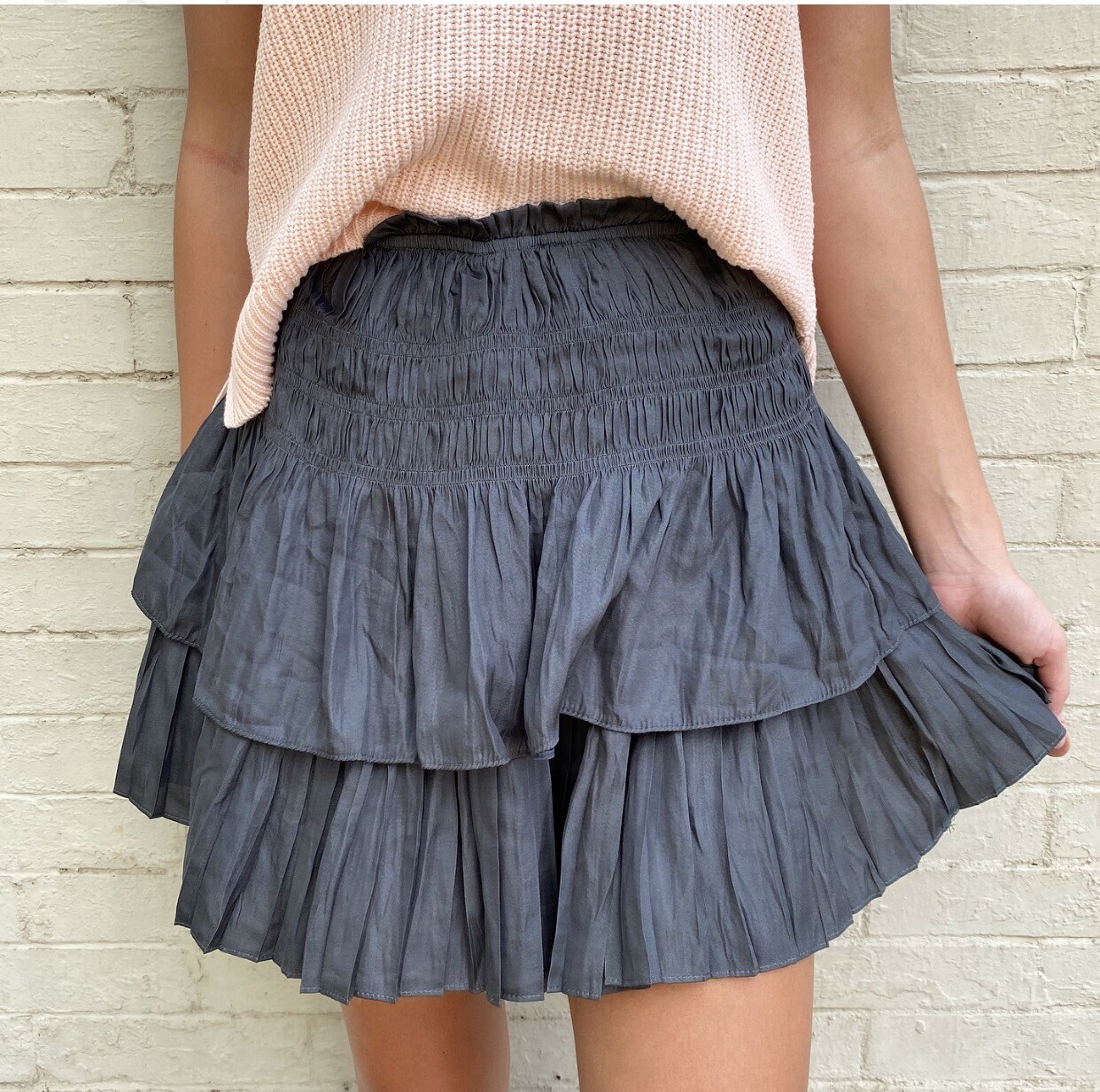 Steel Gray Pleated Skirt