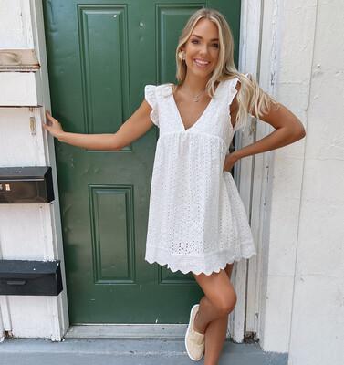 White Eyelet Romper Dress