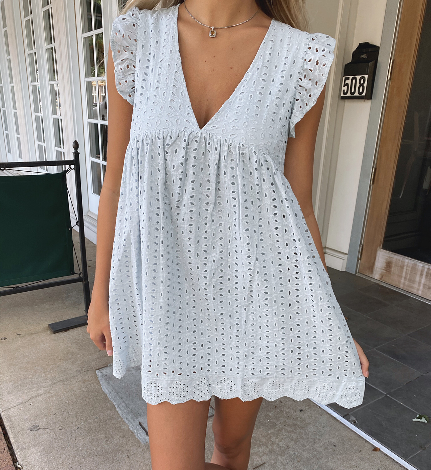Powder Blue Romper Dress