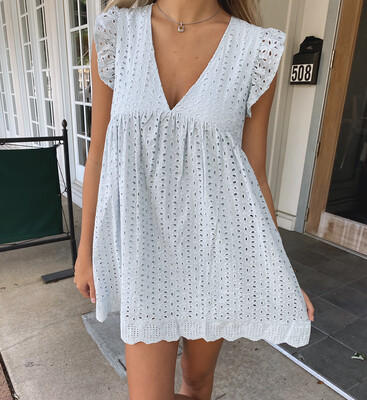 Powder Blue Romper Dress