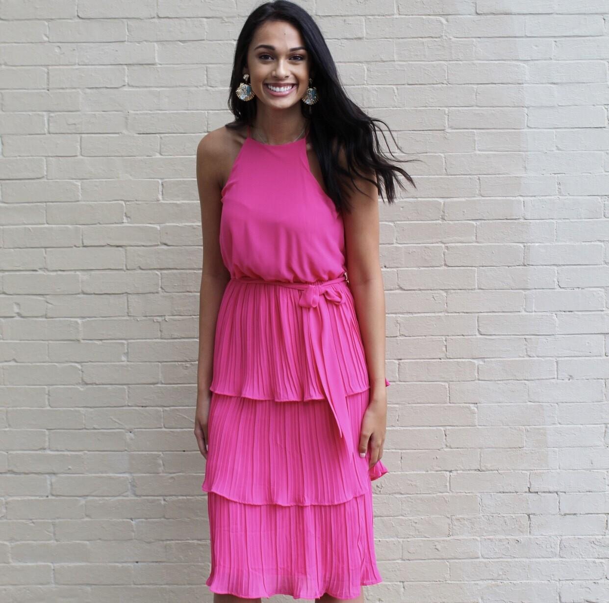 Cherry Pink Midi Dress