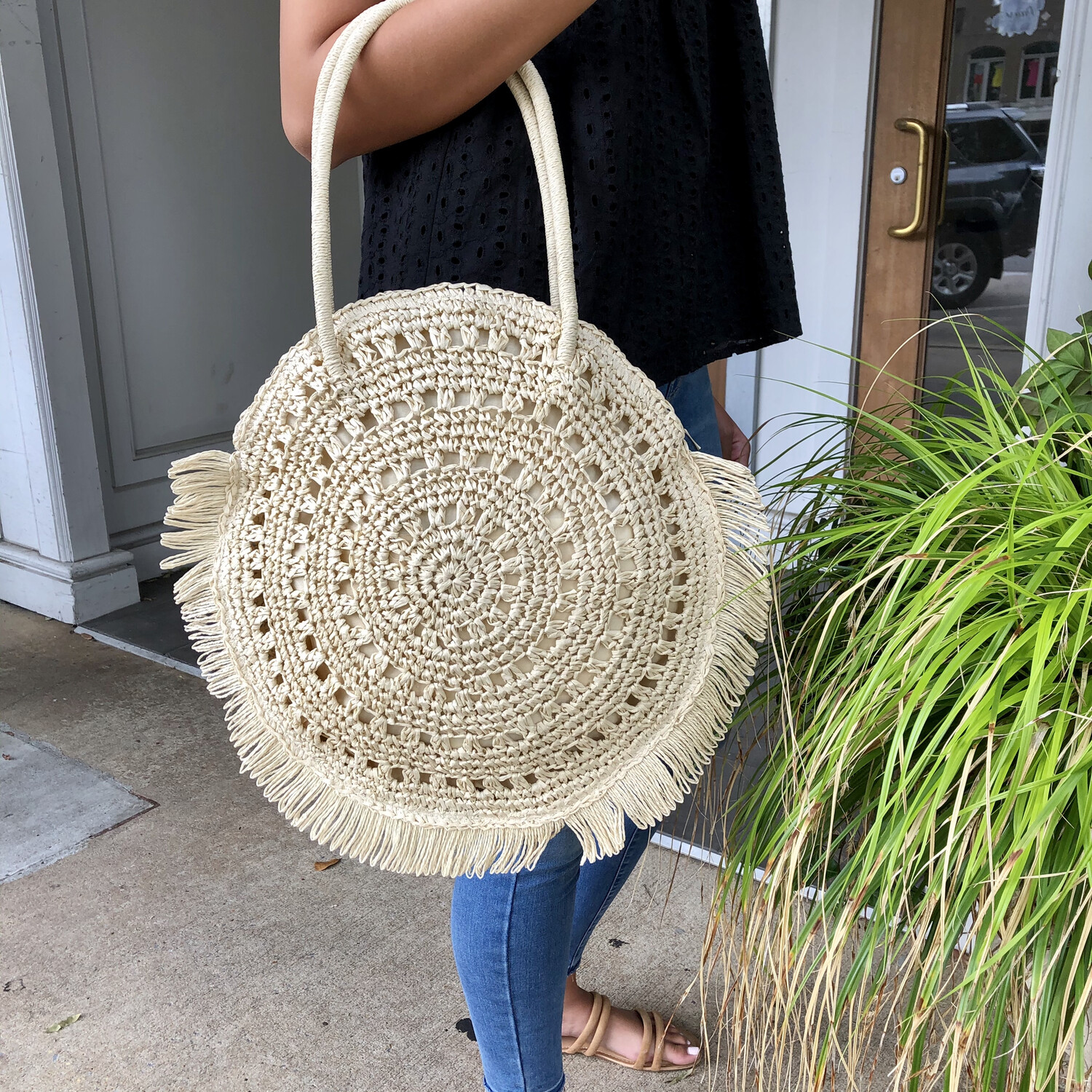 Ivory Straw Tote