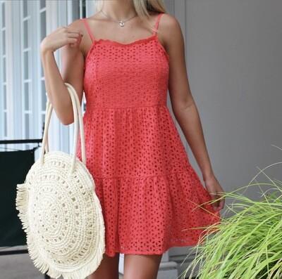 Coral Eyelet Dress