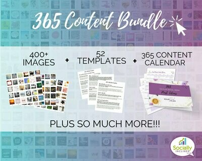 365 Social Media Bundle - All-inclusive, over 1200 pieces of content, 365 social media images with ready-to-post text, templates, and more