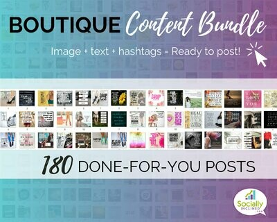 BOUTIQUE Social Media Content Bundle - 180 handmade fashion & clothing posts, ready-to-brand social media content for boutique professionals