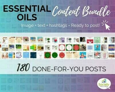 Essential Oils Social Media Content Bundle - 180 niche posts, ready-to-brand social media content perfect for your essential oils businesses