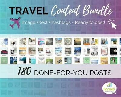 TRAVEL Social Media Content Bundle - 180 travel niche posts, ready-to-brand social media content perfect for travel niche businesses