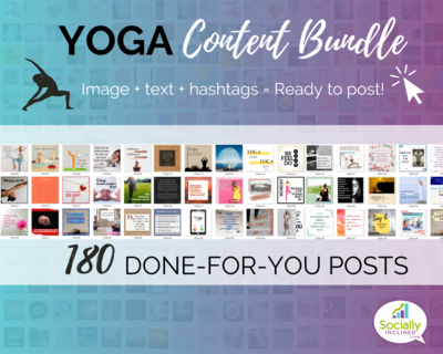 YOGA Social Media Content Bundle - 180 niche posts, ready-to-brand social media content perfect for your YOGA business or Studio
