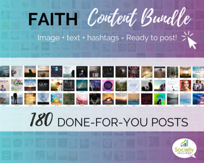 FAITH Social Media Content Bundle - 180 faith-based posts, ready-to-brand social media content for churches, blogs, and faith-based business