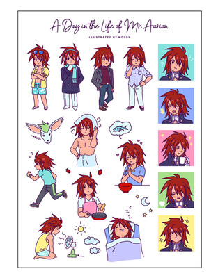 A Day in the Life of Mr. Aurion Sticker Sheet
