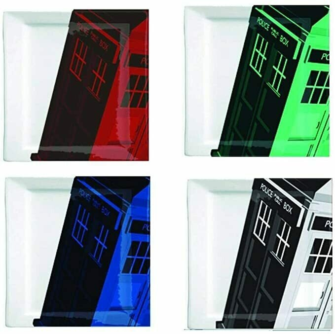Doctor Who Plate Set - Colorful Square Dr Who TARDIS Plates - 8 x 8 inches - Set of 4