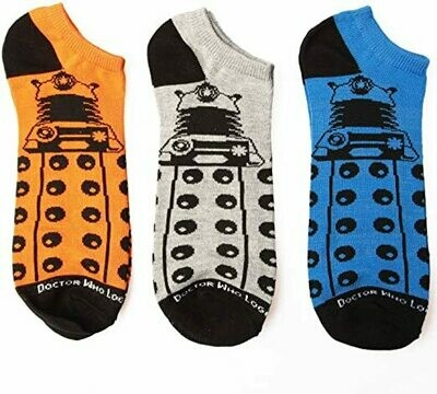 Doctor Who Dalek Low Cut 3 Pack Socks Orange,Grey,Blue size 9-13