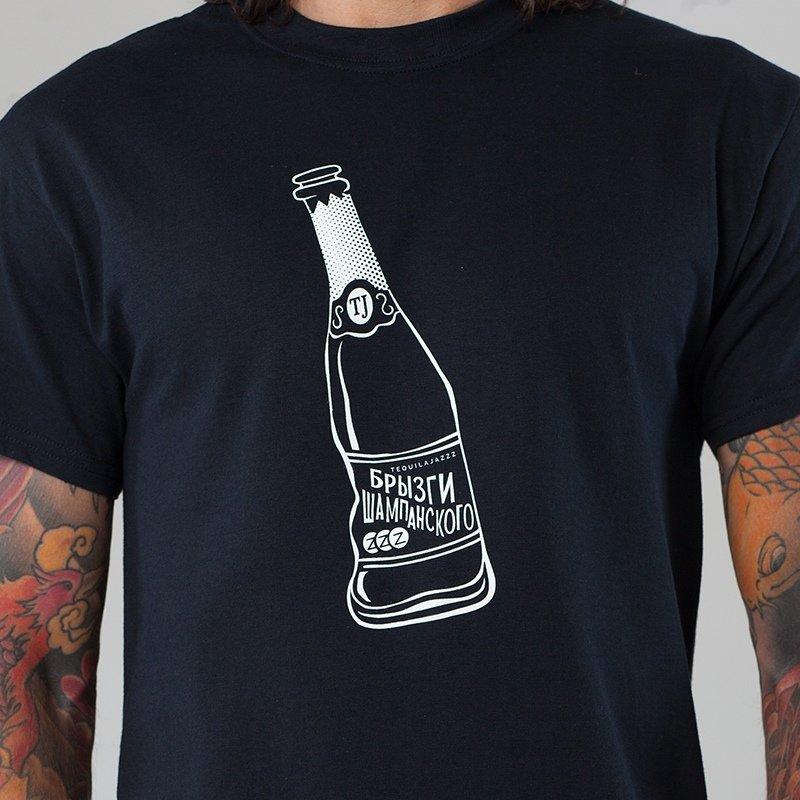 """TEQUILAJAZZZ - футболка мужская """"Брызги шампанского"""" (черная)"""