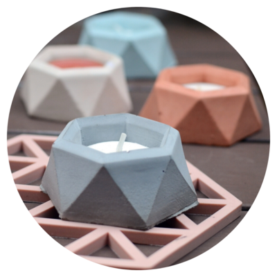Tealight Candle Holder - Design #01a with Raw Concrete Finish