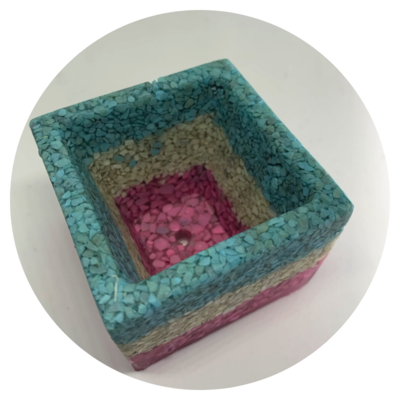 Square Resin Pot - Design #01b with Zeolite Finish