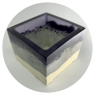 Square Concrete Pot - Design #01a with Resin Top