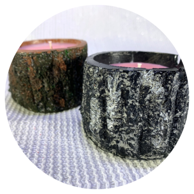 Concrete Tree Trunk Candle - Multi Colour