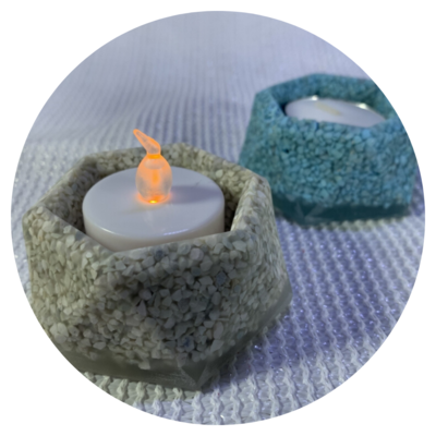 Tealight Candle Holder - Design #01b with Zeolite Finish
