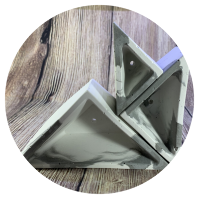 Triangular Concrete Planters with Marbled Concrete Finish - Set of 3