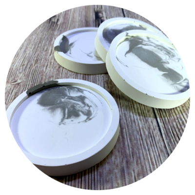 Concrete Marbled Coasters, Set of 4