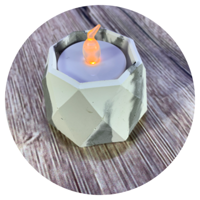 Tealight Candle Holder - Design #02b with Faux Marble Finish