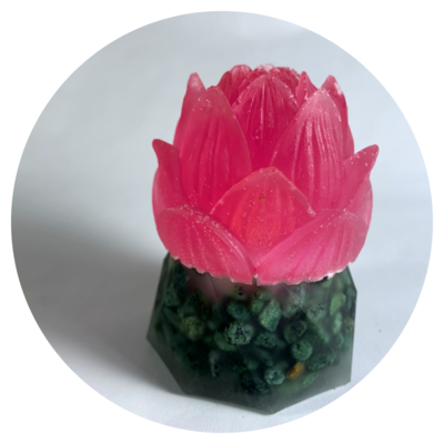 Blossoming Resin Lotus with Flickering Light Effect