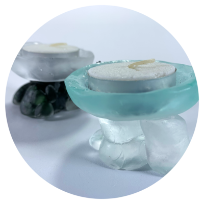 Tealight Candle Holder - Design #04 with optional pebble finish