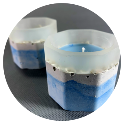 Concrete Pot Candle - Blissful Blue