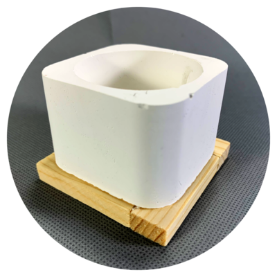 Square Concrete Pot - Design #02bc with Wooden Base